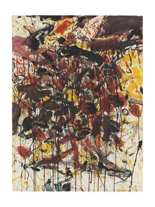 Sam Francis Black and So On 1958 watercolor and go...