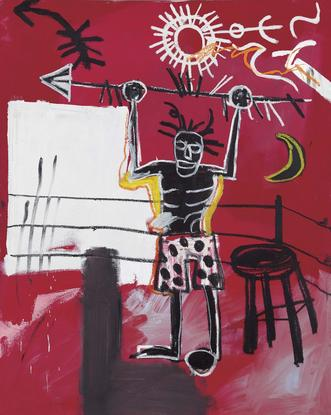 Jean-Michel Basquiat The Ring 1981 oil and oil sti...