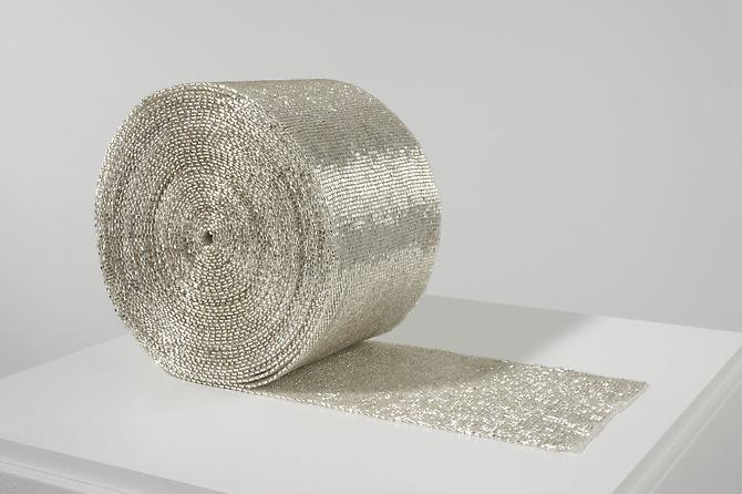 Roll 2007-2008 cotton and glass beads 6 5/8 x 6 5/...