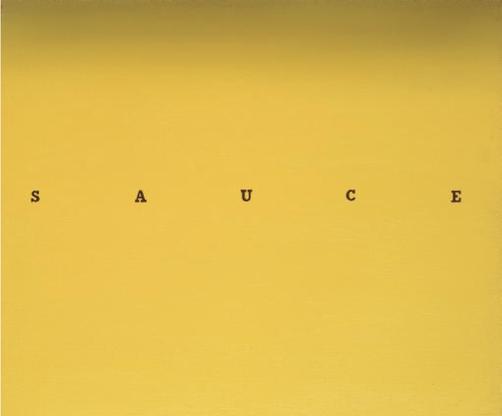 Ed Ruscha, Sauce, 1967 oil on linen, 20 x 24 inche...
