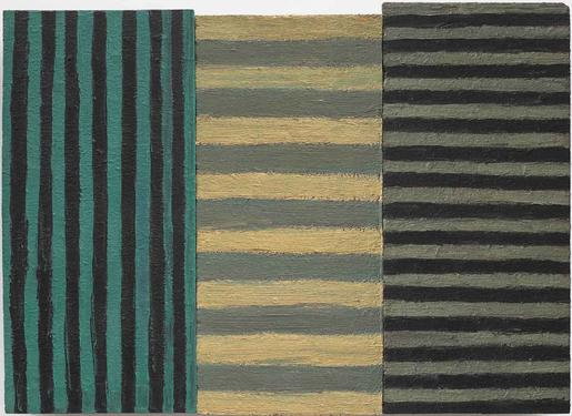 Sean Scully Bonin 1982 oil on Masonite with wood s...