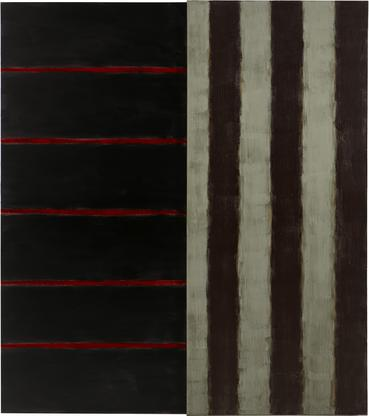 Sean Scully Red Line Diptych 1988 oil on canvas 10...