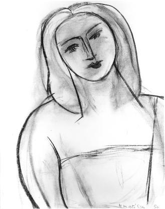 Henri Matisse Tete de Femme 1950 charcoal on paper...