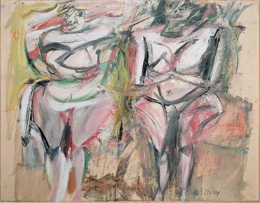 Willem de Kooning Two Women 1953 oil on paper moun...